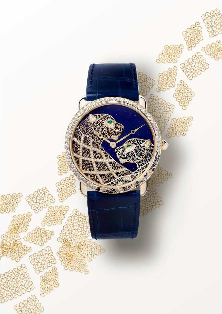 Ronde Louis Cartier XL watch in a 42mm yellow gold case was chosen to showcase the two majestic filigree panthers created from beaten gold and platinum micro-wires. (Nils Hermann@Cartier)