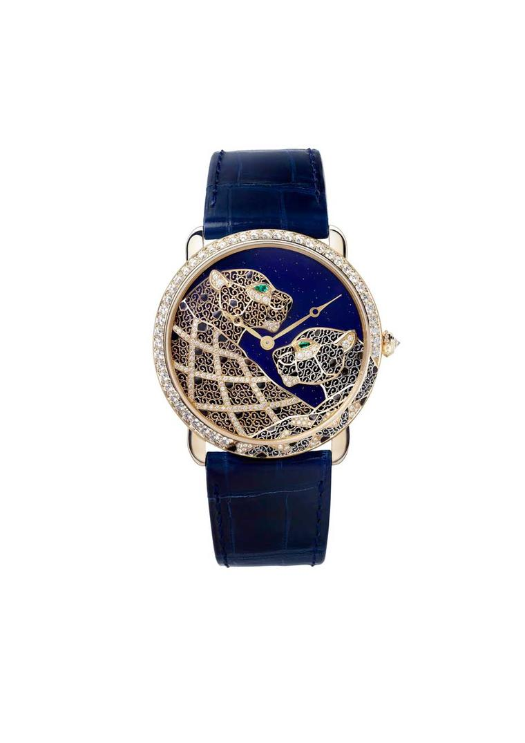 The Ronde Louis Cartier XL filigree watch reinvents the centuries-old technique of filigree, in which fine, thread-like wires of gold or silver are twisted and flattened with a hammer, shaped to form a motif, and then soldered to create light, airy patter