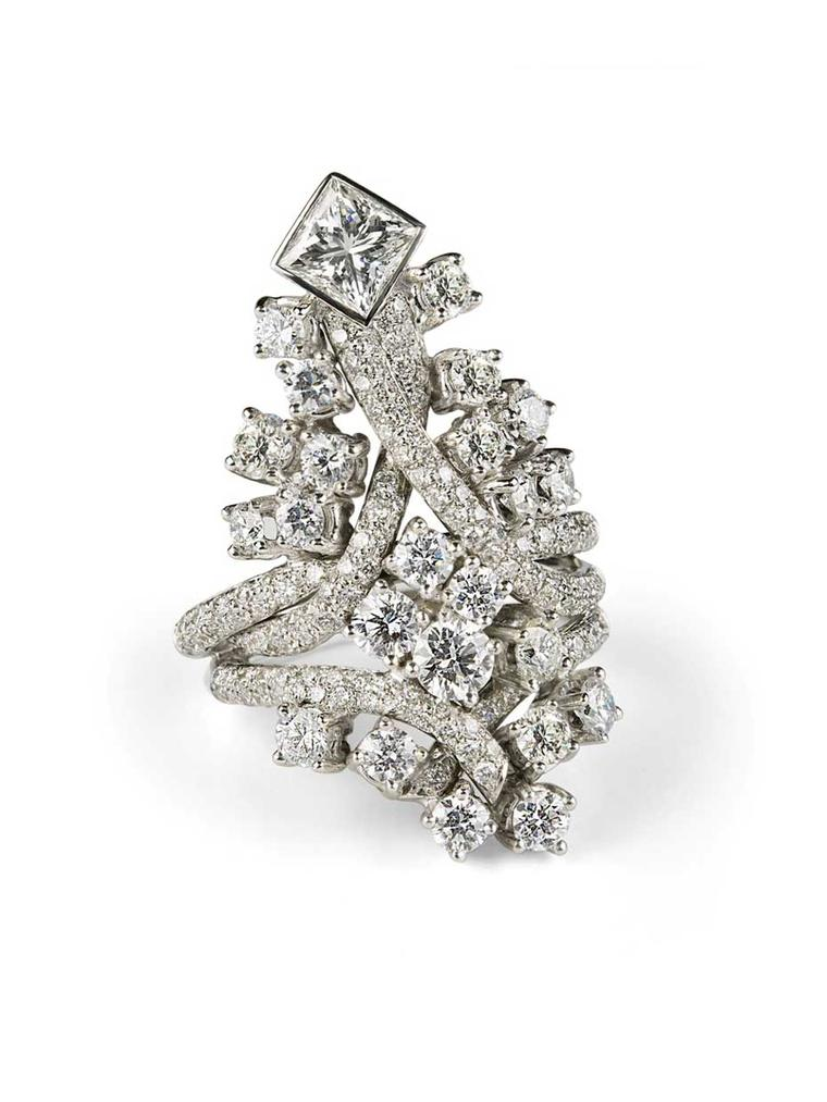 Rosior diamond ring set with princess-cut diamonds.