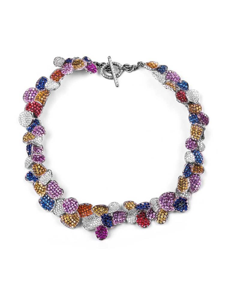 Rosior necklace with multi-coloured gemstones and diamonds.