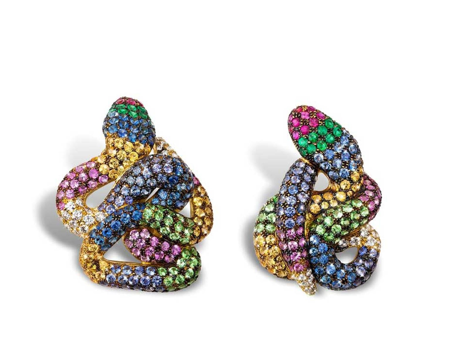 Rosior snake earrings adorned with a colourful mix of diamonds, sapphires, rubies, emeralds and tsavorites.