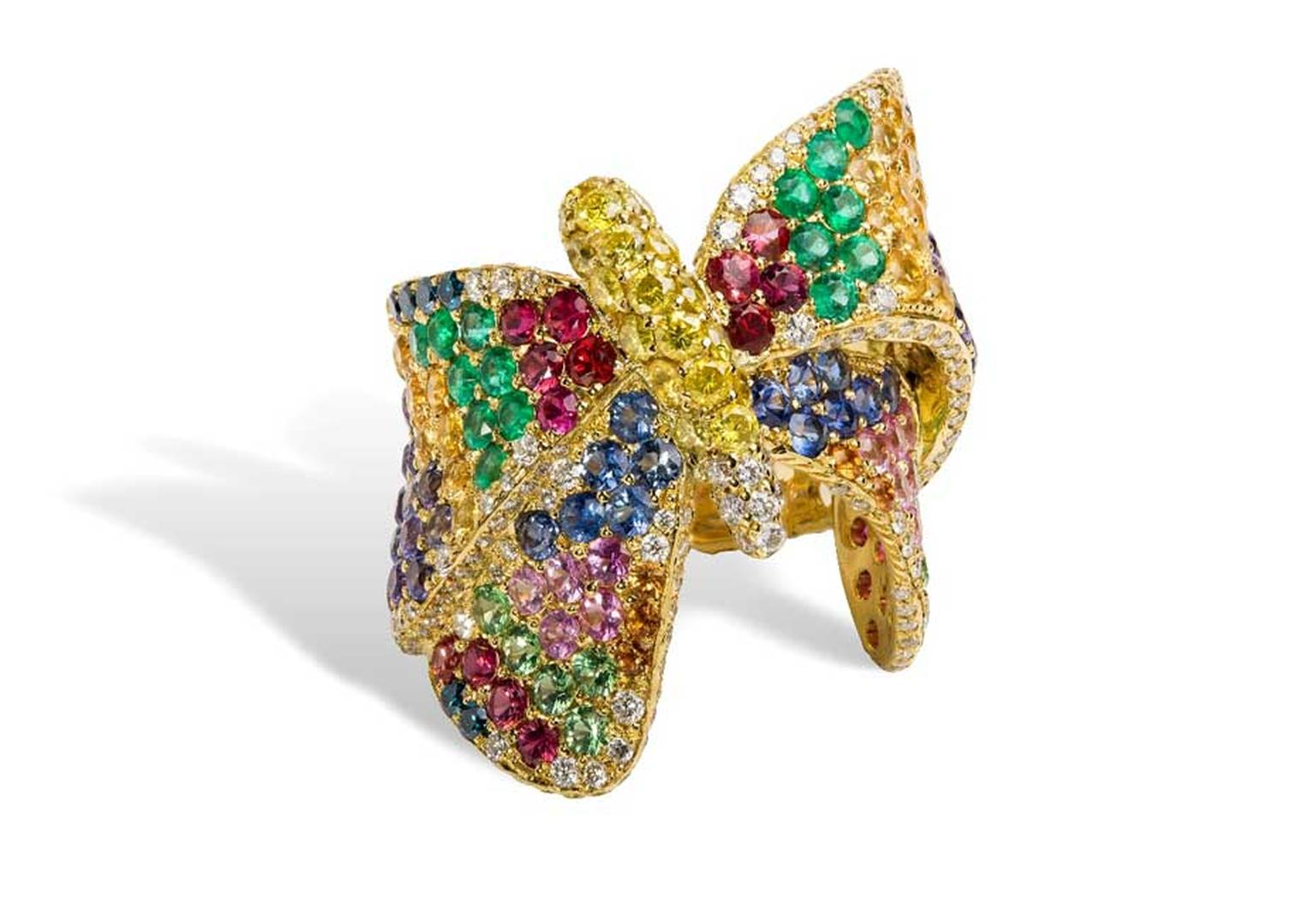 Rosior Butterfly ring with a mix of white diamonds, yellow diamonds, blue diamonds, sapphires, rubies and emeralds.