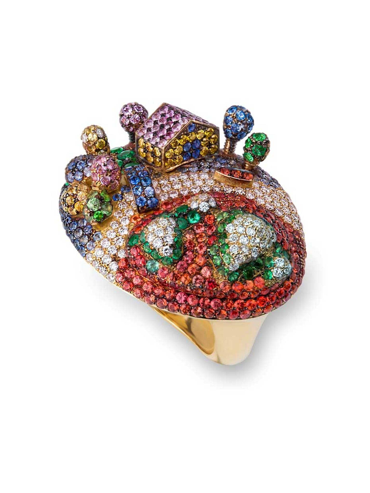 Gold Rosior ring set with white diamonds, yellow diamonds, sapphires, emeralds and tsavorites.