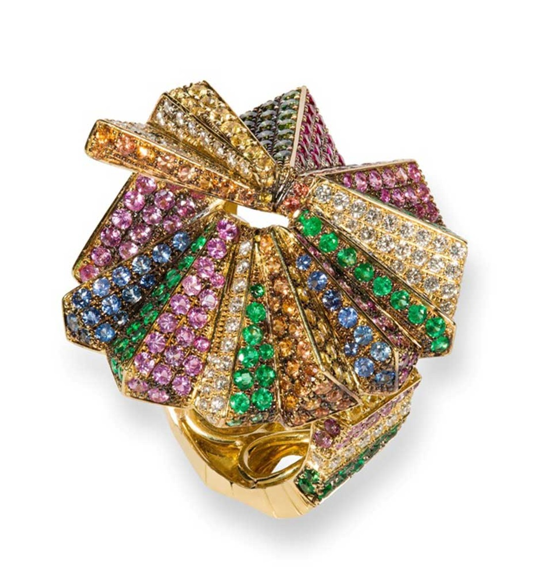 Rosior gold ring set with diamonds, rubies, sapphires and emeralds.