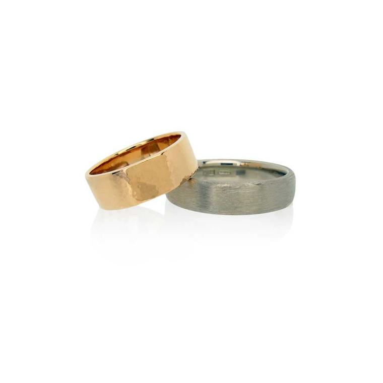 Bespoke ethical wedding bands by Amanda Li Hope in Fairtrade rose and white gold.