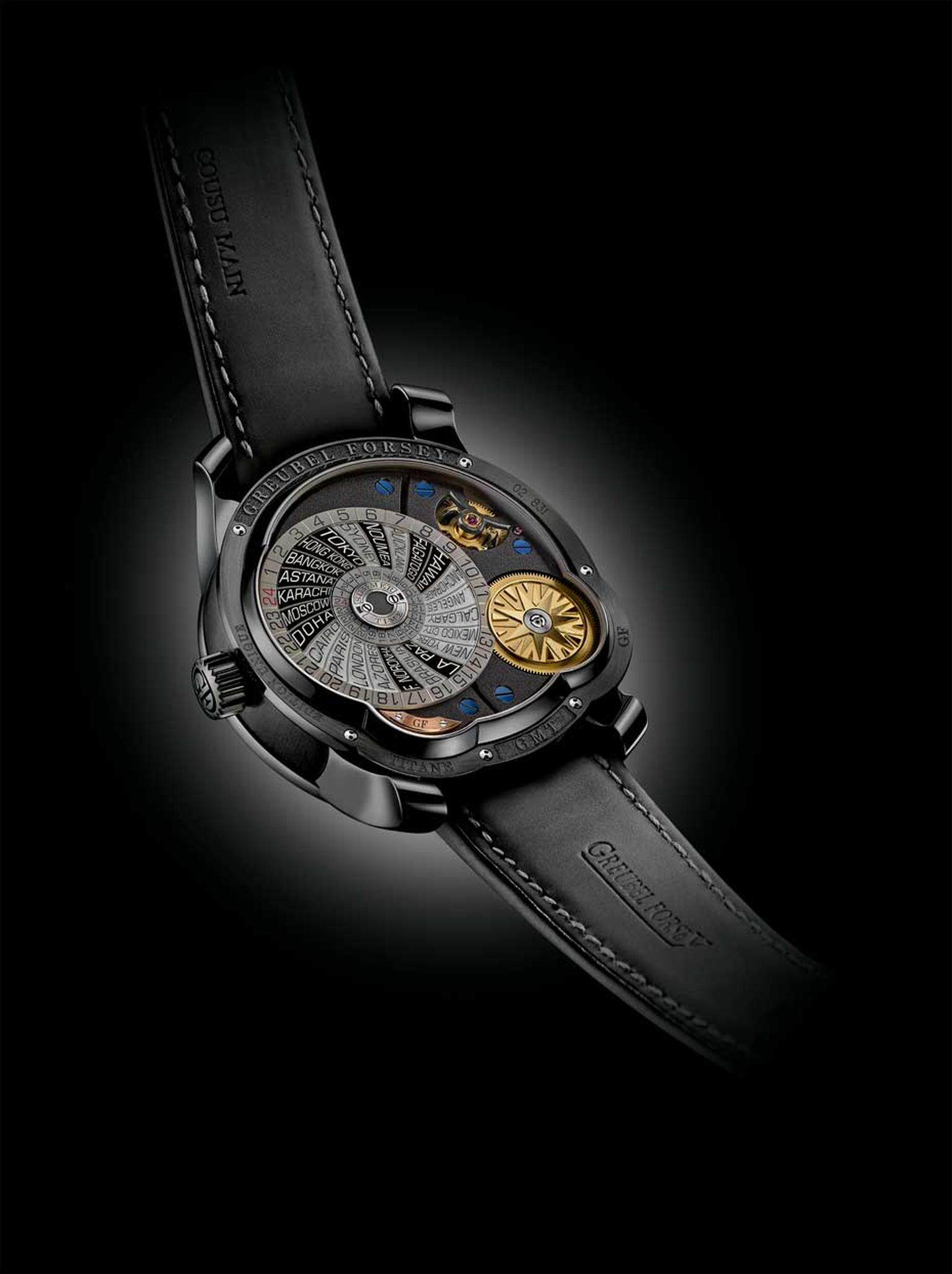 Greubel Forsey GMT watch features the name of 24 cities on a world time disc on the caseback, which protects the incredibly complex movement. This GMT model is limited to 22 watches.