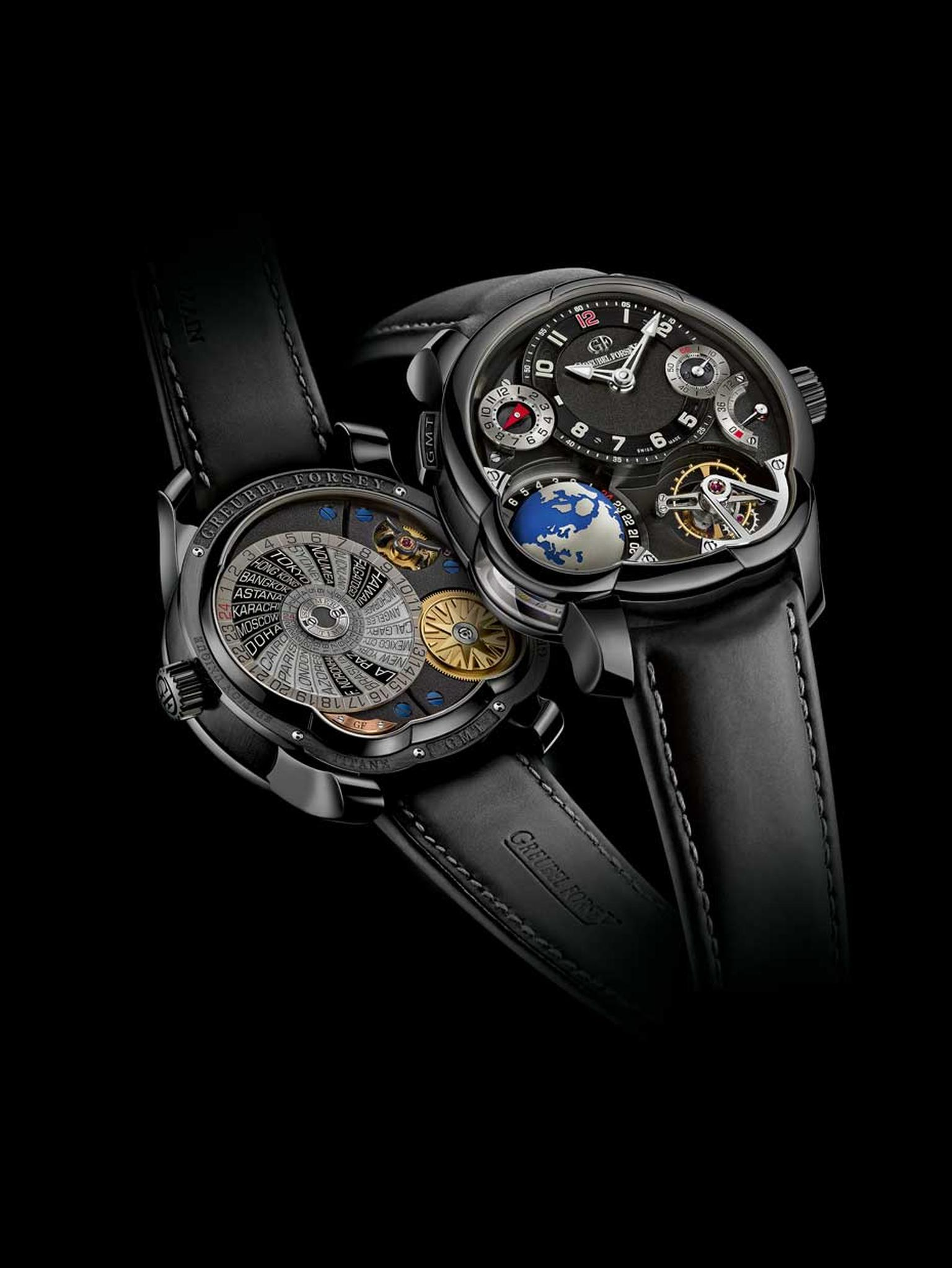 Greubel Forsey GMT watch with a rotating globe to display universal time, showing the time zones in 24 cities, day and night indicator, power reserve gauge, hour and minute display, summer time indicator and small seconds counter.