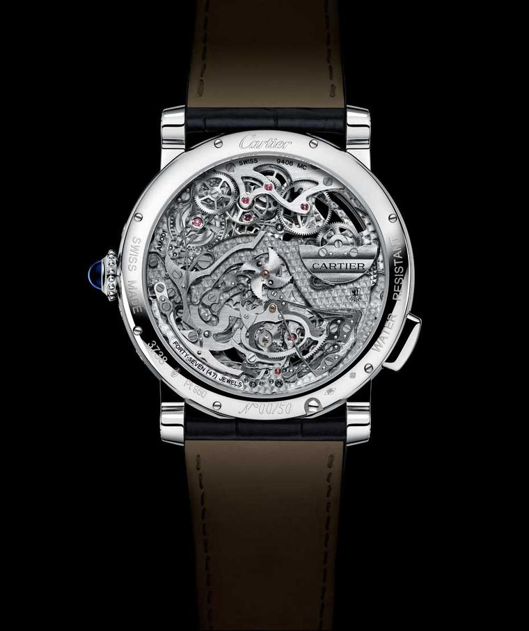 Cartier Rotonde de Cartier Grande Complication Skeleton watch runs on calibre 9406 MC. Just  5.49mm thick, the movement gets its energy from a platinum micro-rotor decorated with guilloché.