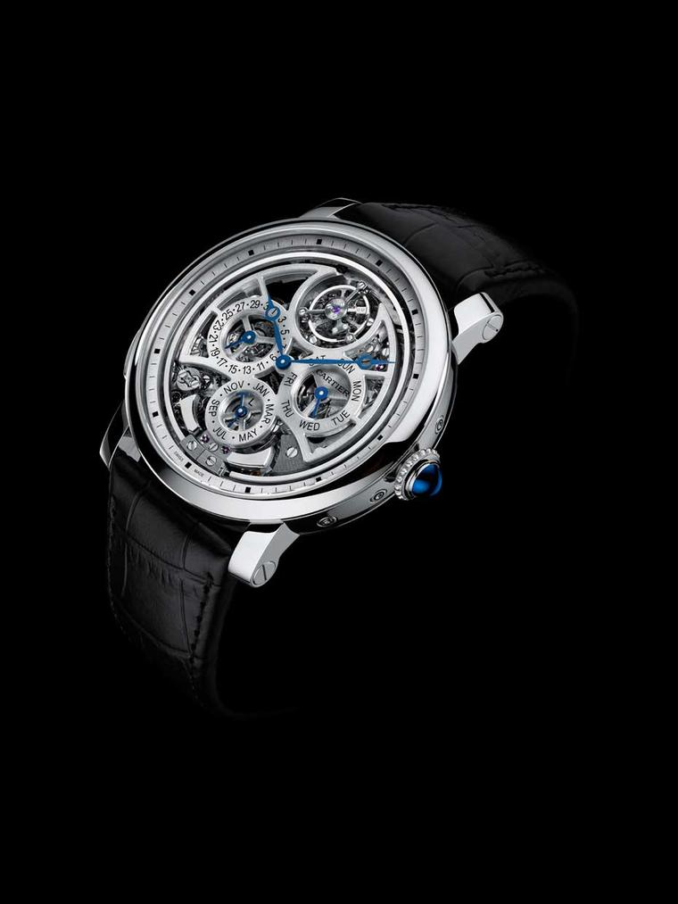 Cartier Rotonde de Cartier Grande Complication is presented in a 45mm platinum case and is a limited edition of 50 watches. Thanks to its openwork dial and skeletonised movement, all the action of the complications, including the hammers of the minute rep