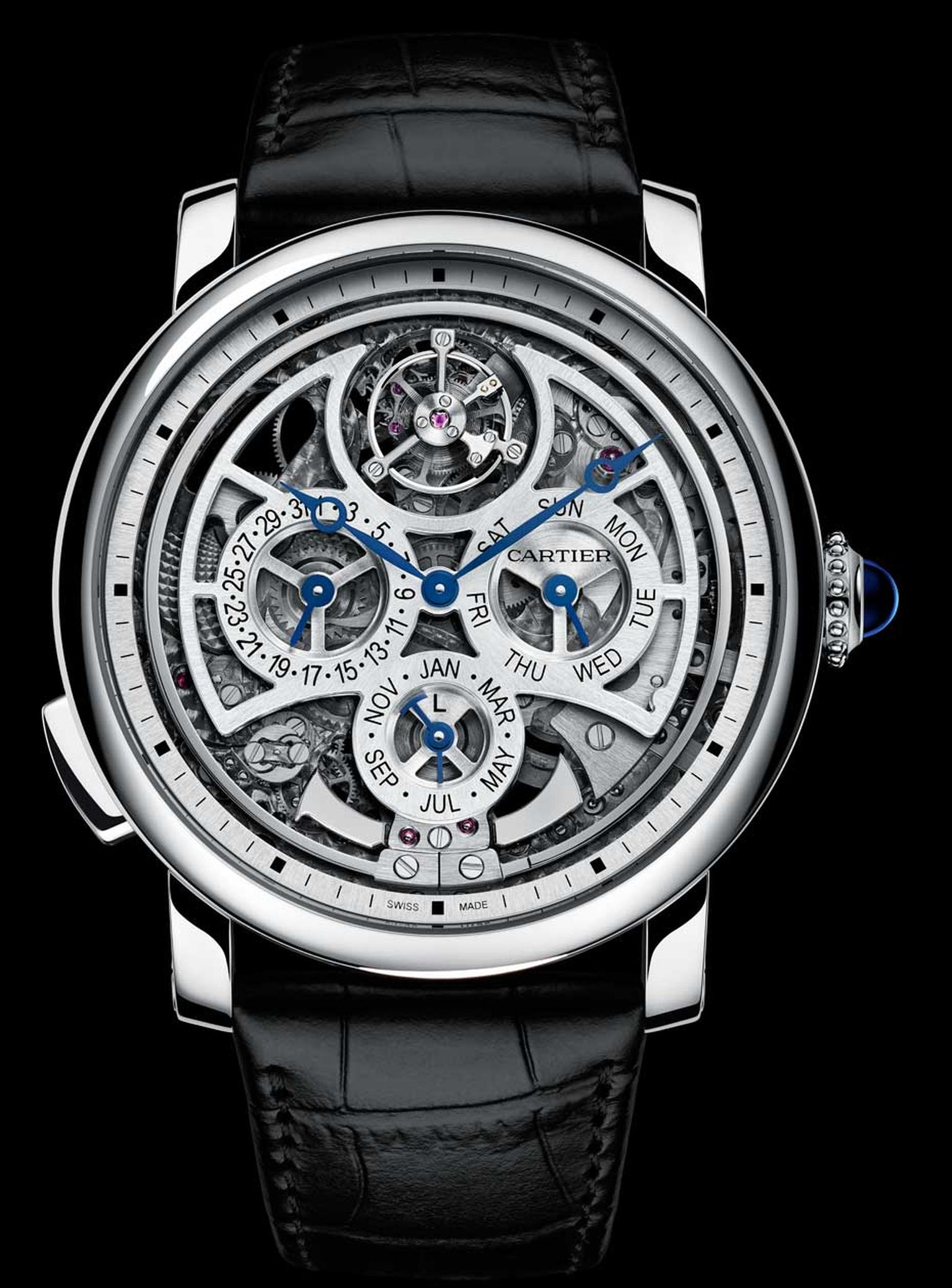 Cartier Rotonde de Cartier Grande Complication compresses three complications - perpetual calendar, minute repeater and flying tourbillon - into an ultra-thin skeletonised movement and openwork dial.