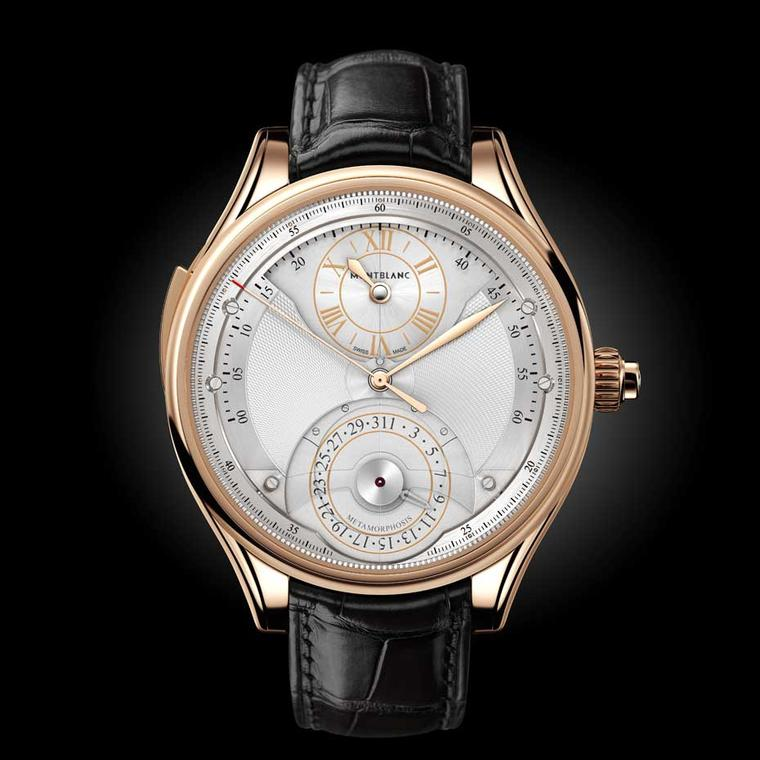 Montblanc Metamorphosis II watch appears with the classical hour, retrograde minute and date dial, and is presented in a 45mm rose gold case. If you look closely at the hours and seconds discs, you will notice a slight depression on the dial.