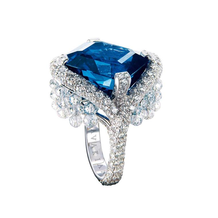 Avakian sapphire ring set with diamond briolettes.