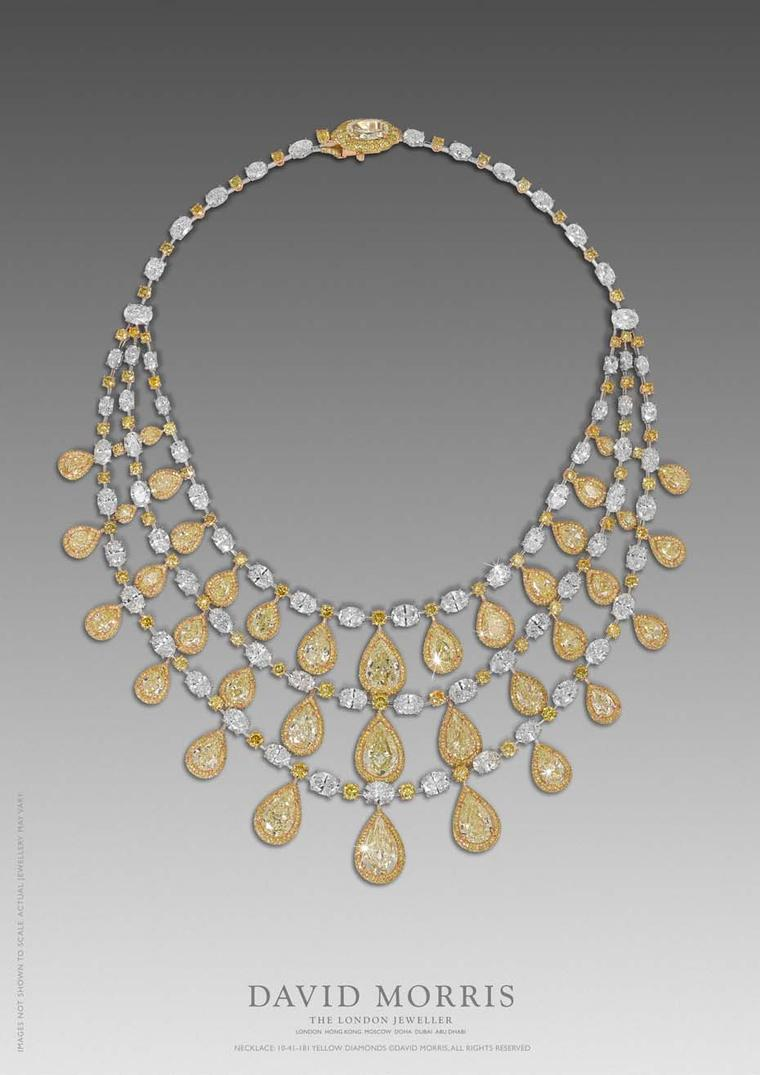 This mesmerising necklace set with 47.99ct of yellow, pear-shaped and white oval-cut diamonds is just one of the high jewellery pieces David Morris will be showing at DJWE.