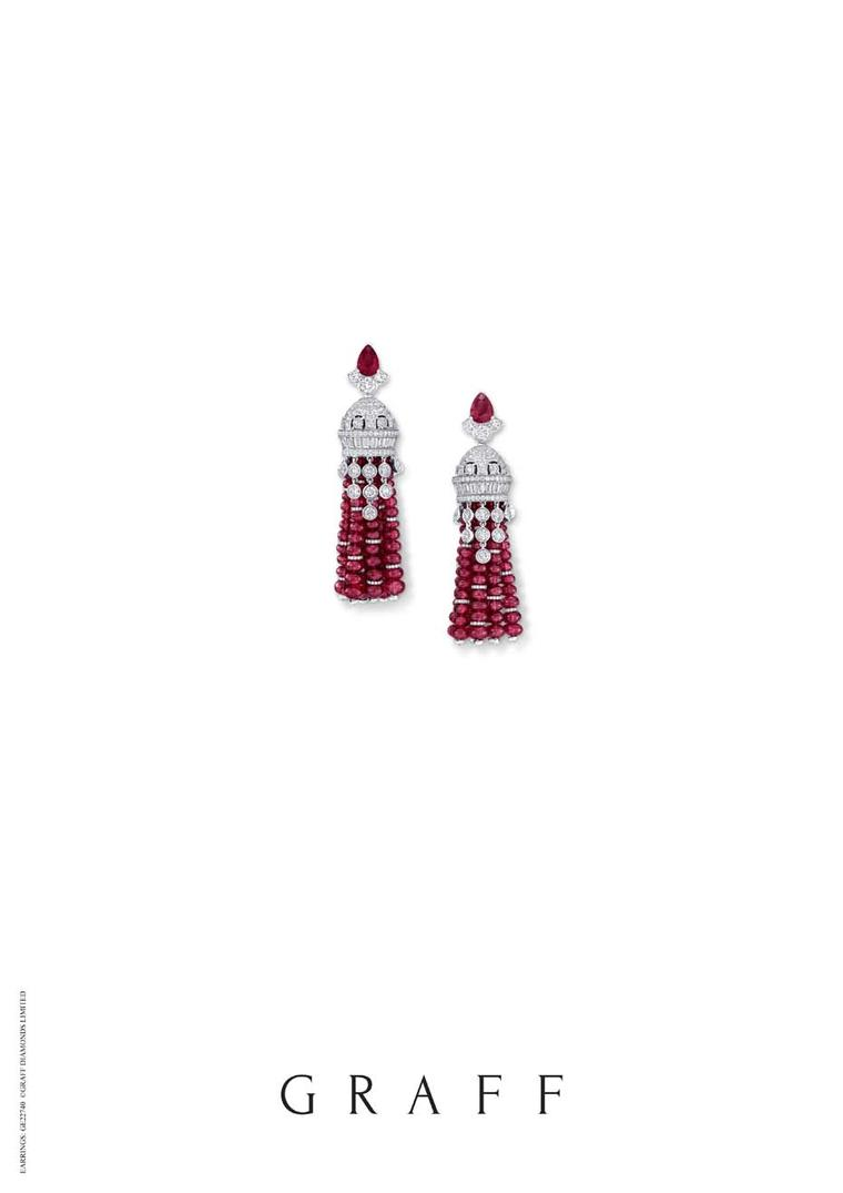 Also on display in Doha at DJWE, alongside Graff's tassel necklace, will be this pair of matching ruby and diamond earrings.