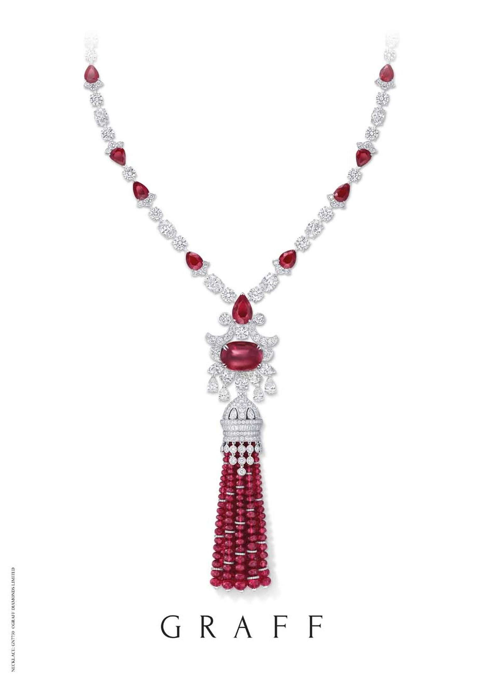 One of the most talked-about high jewellery pieces at the DJWE is bound to be this Graff ruby and diamond high jewellery tassel necklace, featuring an extraordinary 278.55ct of rubies.