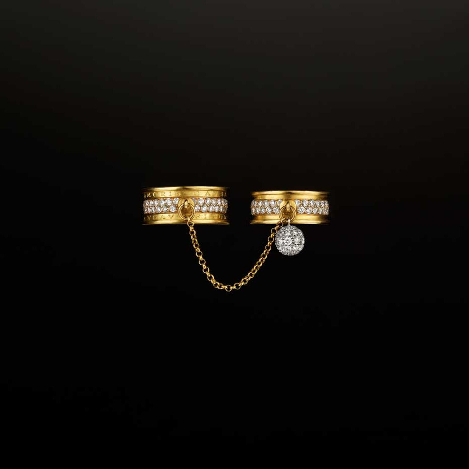 Liv Ballard Collection Sacro Vincolo yellow gold and diamond rings.