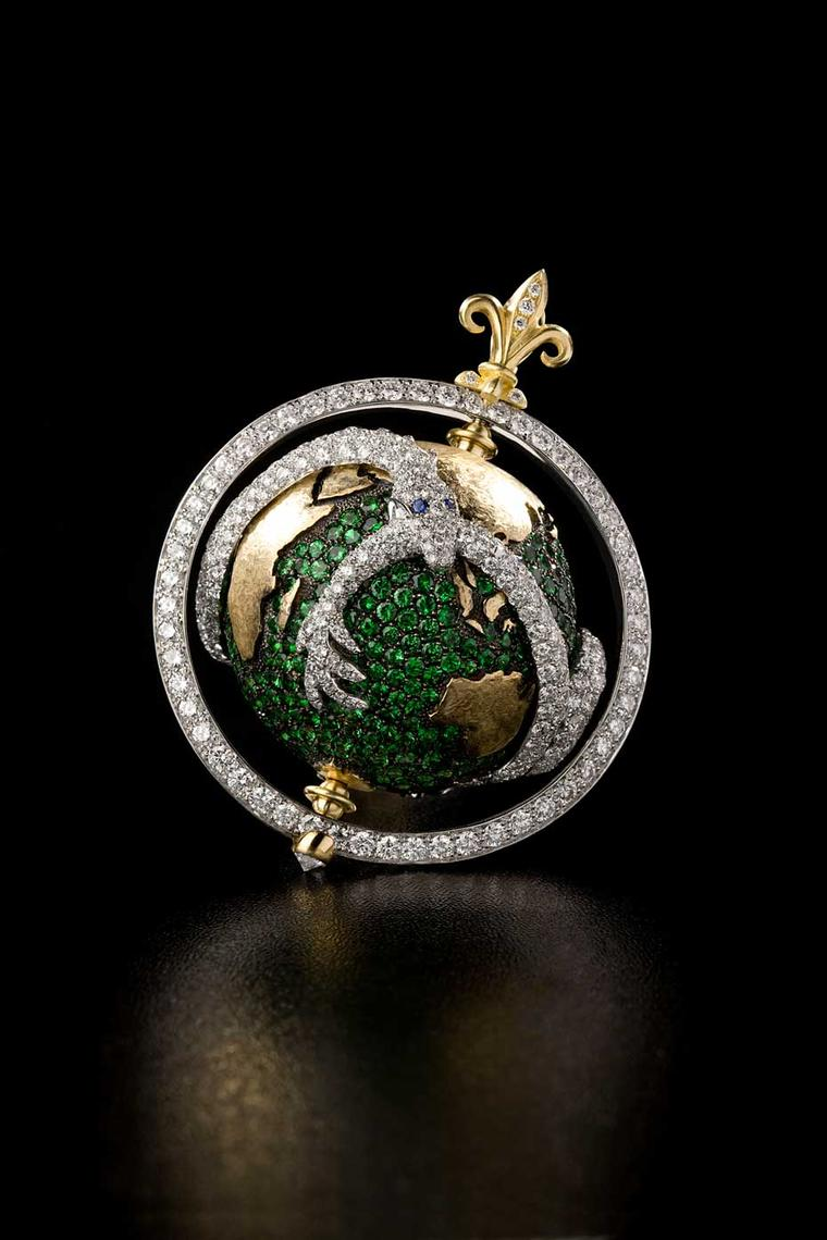 Liv Ballard Collection Capvt Mvndi Tsavorite Dragon Globe yellow gold and tsavorite pendant, encircled by a diamond dragon.