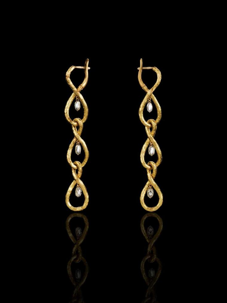 Liv Ballard Collection Analemma earrings in hammered yellow gold with briolette diamonds.