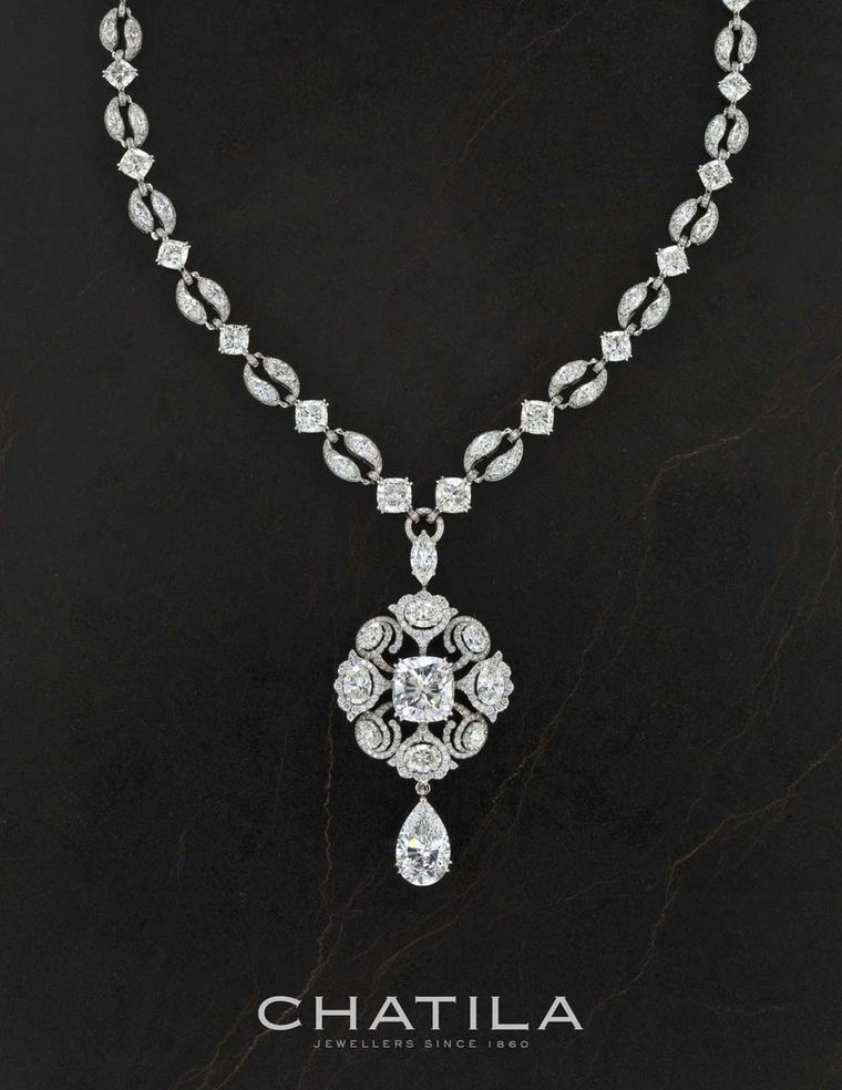 Chatila will also be showing this fancy shape diamond necklace with a 10.04ct cushion cut centre diamond.