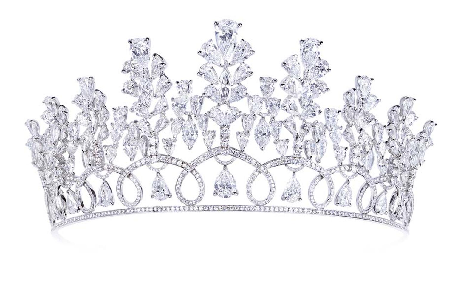 White gold tiara with 88.40ct of white fancy cut diamonds by Moussaieff.