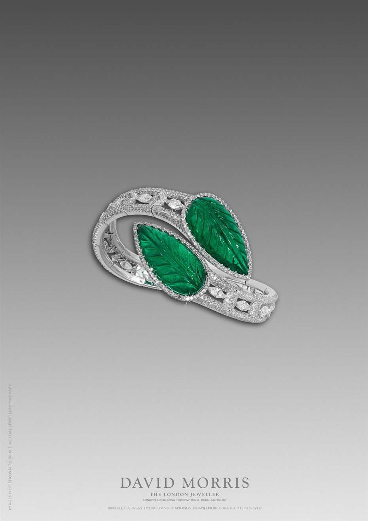 David Morris' use of coloured gemstones is showcased beautifully in this carved Zambian emerald flexible bangle, with marquise and pear shape motifs and white diamond micro-set diamonds.