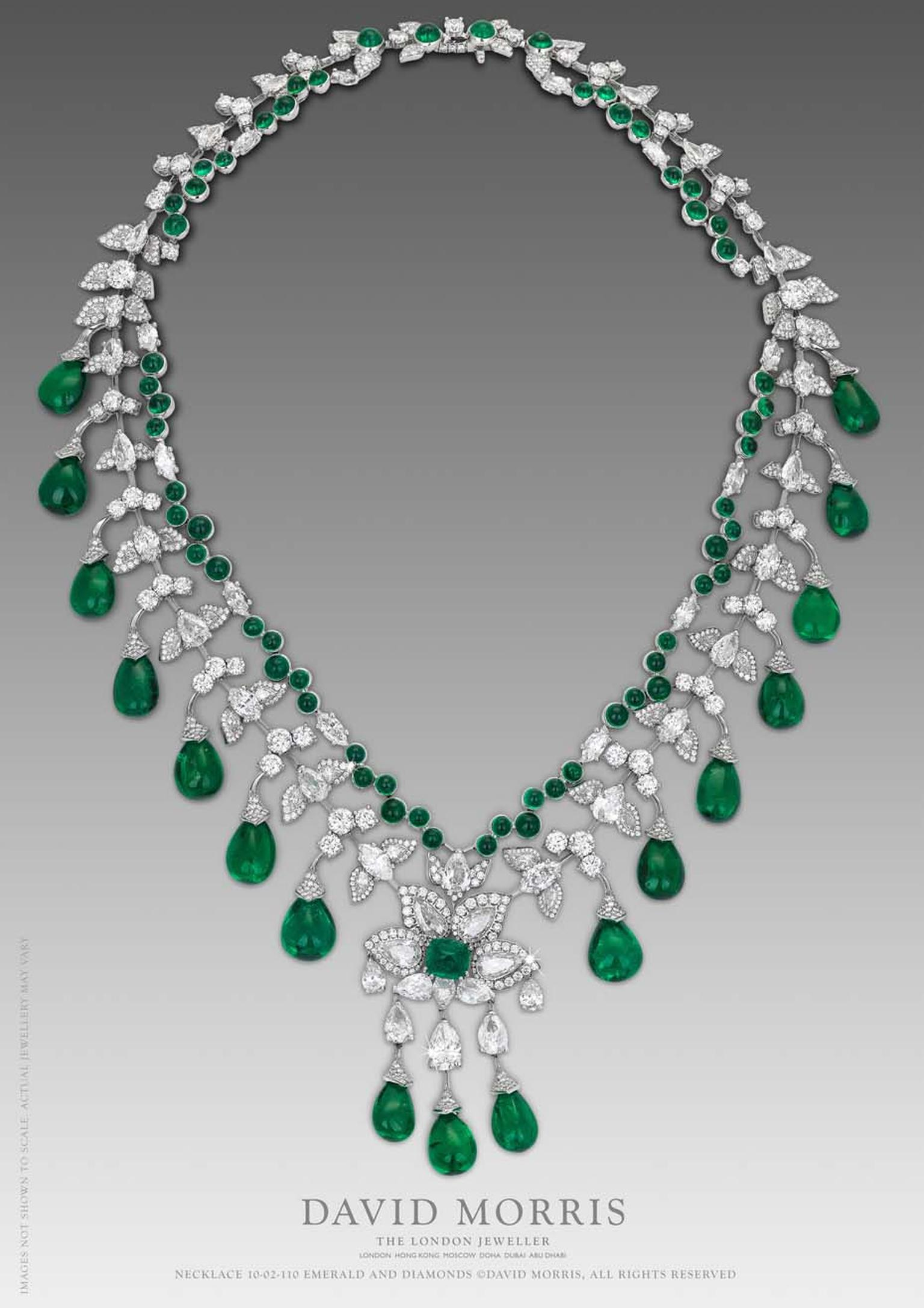 This Zambian emerald cabouchon necklace by David Morris, with round marquise diamonds and a pear shape motif set in 18ct white gold is truly breathtaking.