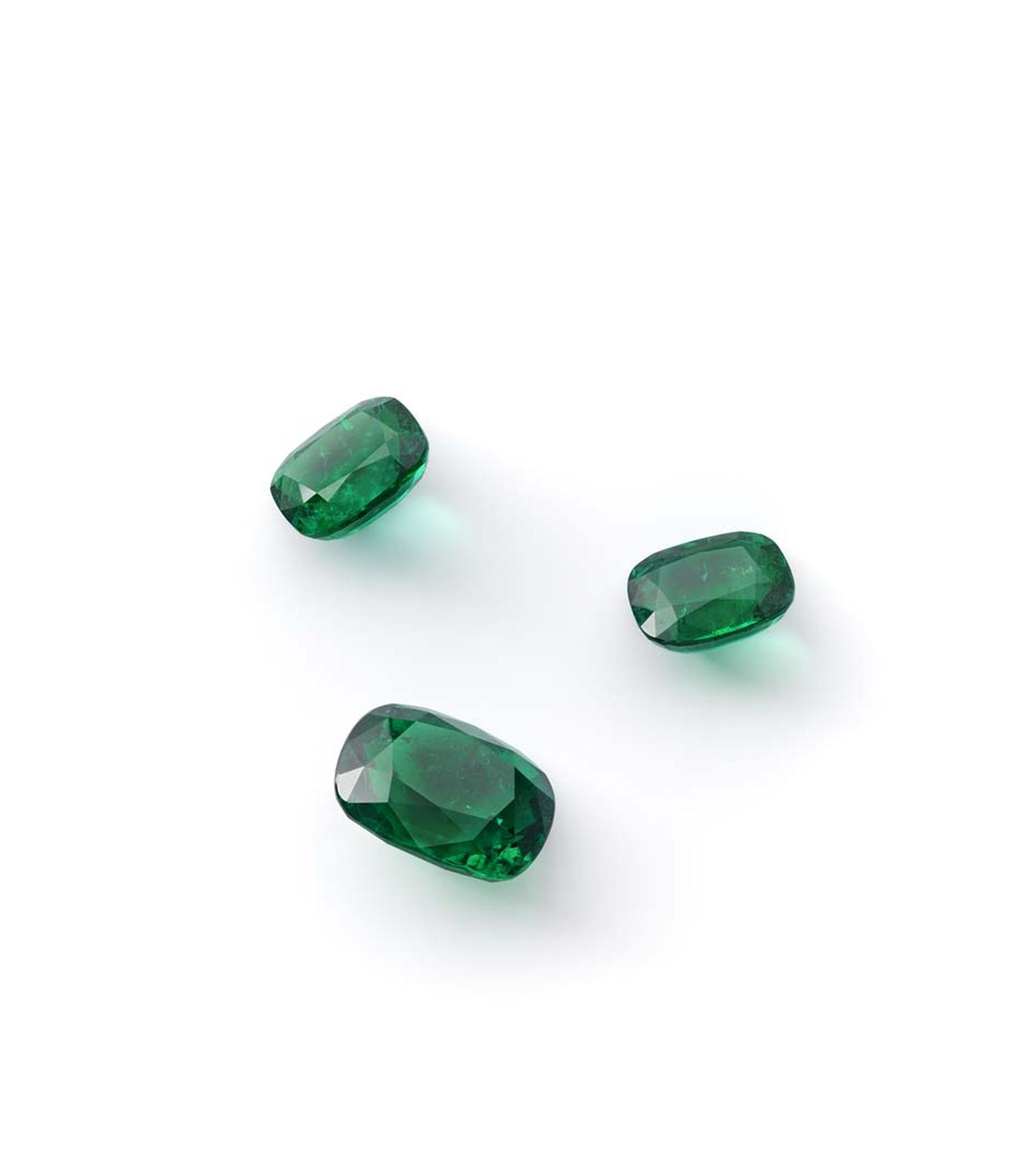 A selection of cut and polished Gemfields African emeralds.