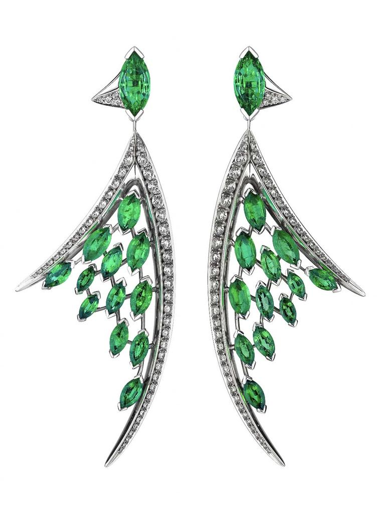 Aerial white diamond and marquise-cut emerald earrings