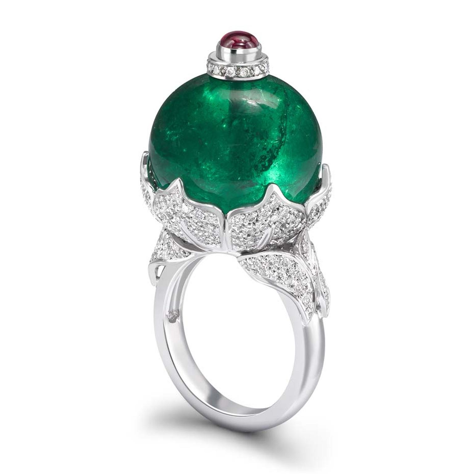 Theo Fennell emerald ring in white gold, set with a 38.70ct Gemfields emerald bead surrounded by pavé diamonds and topped with a ruby.