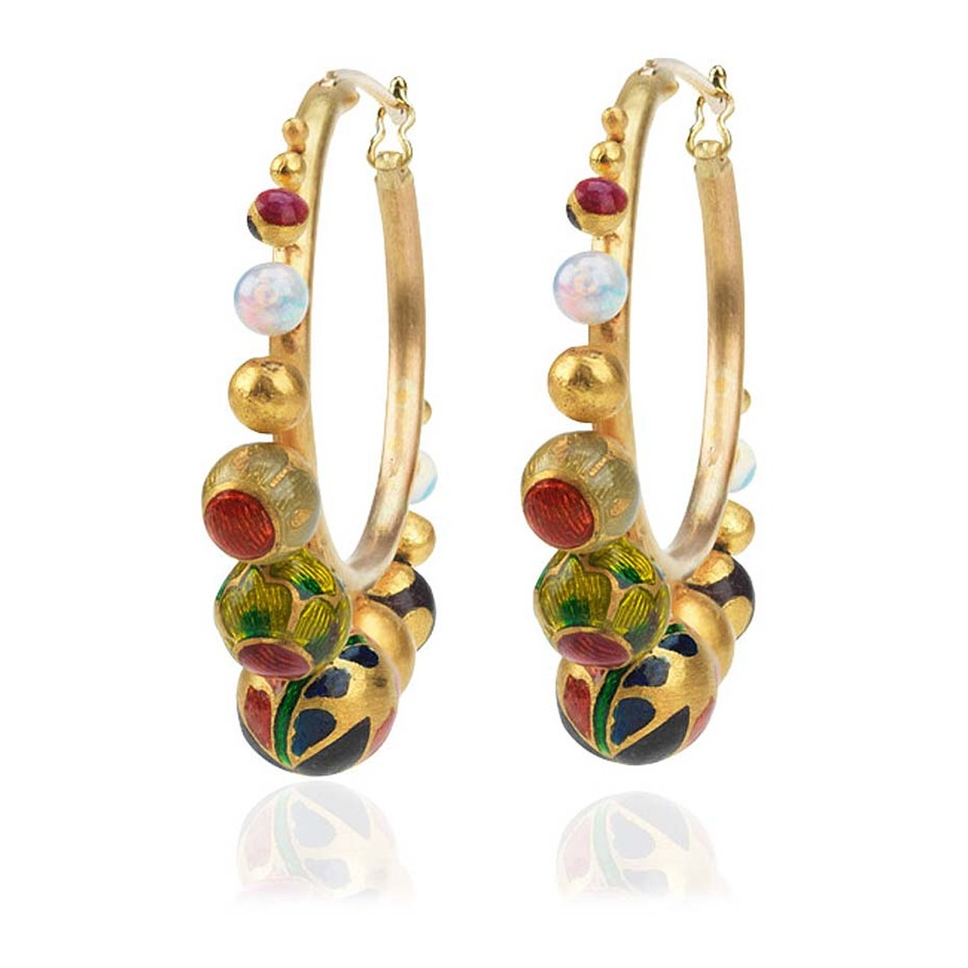 Alice Cicolini Kimono brushed yellow gold and enamel hoop earrings with graduating gold balls decorated with enamel patterns and polished white opal spheres. £3600.