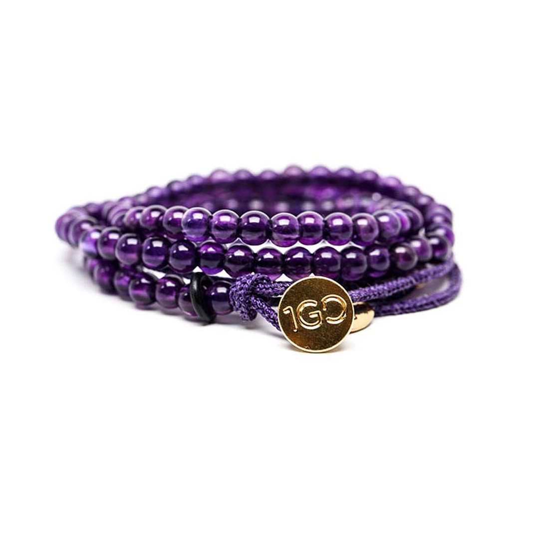 Gemfields limited edition 100 Good Deeds amethyst bracelet featuring ethically mined amethyst beads from Gemfields' mine in Zambia. $475.