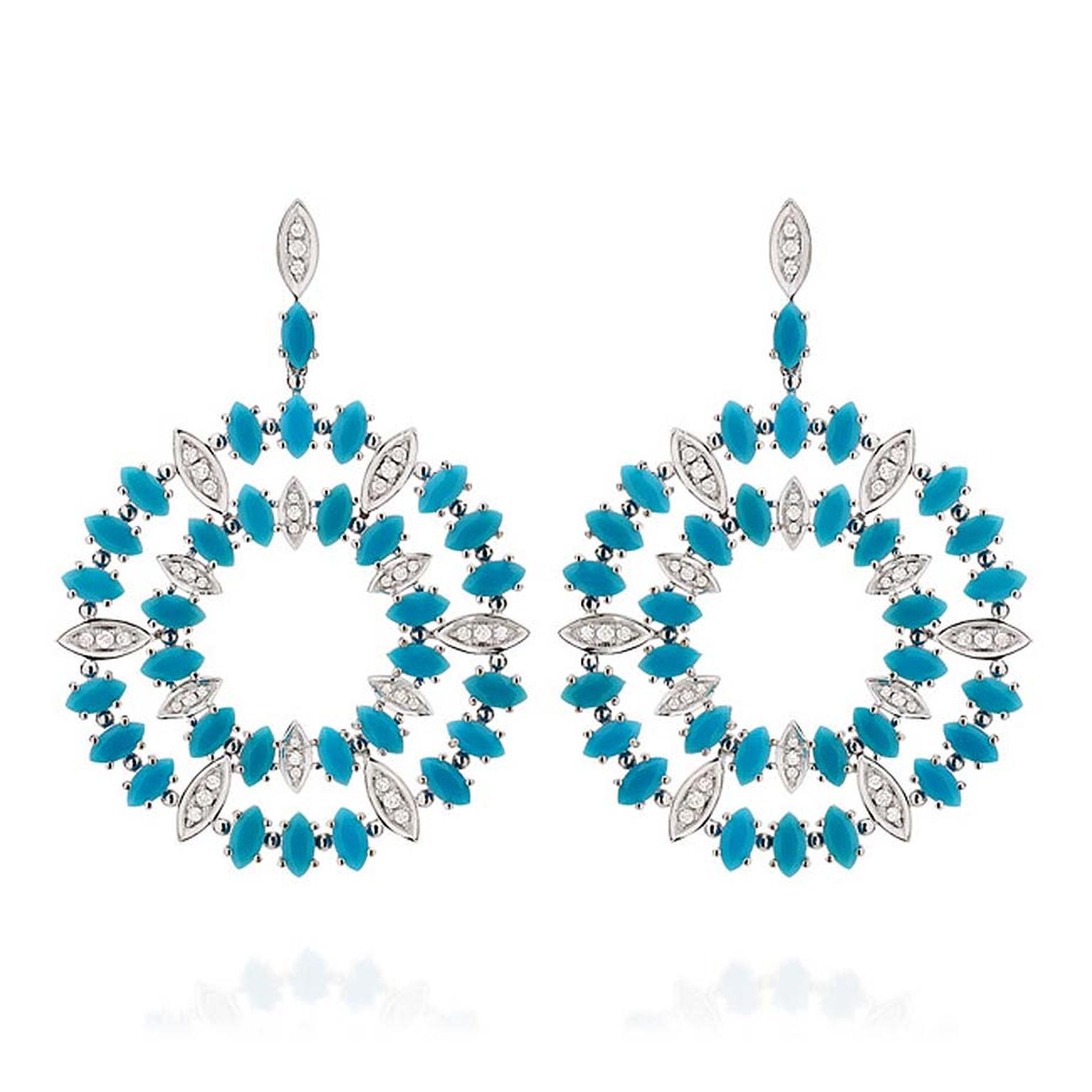 Brazilian jewellery designer Carla Amorim's São Paulo Aquário turquoise and diamond hoop earrings featuring turquoise drops interspersed by diamond-set white gold drops. $11,200.