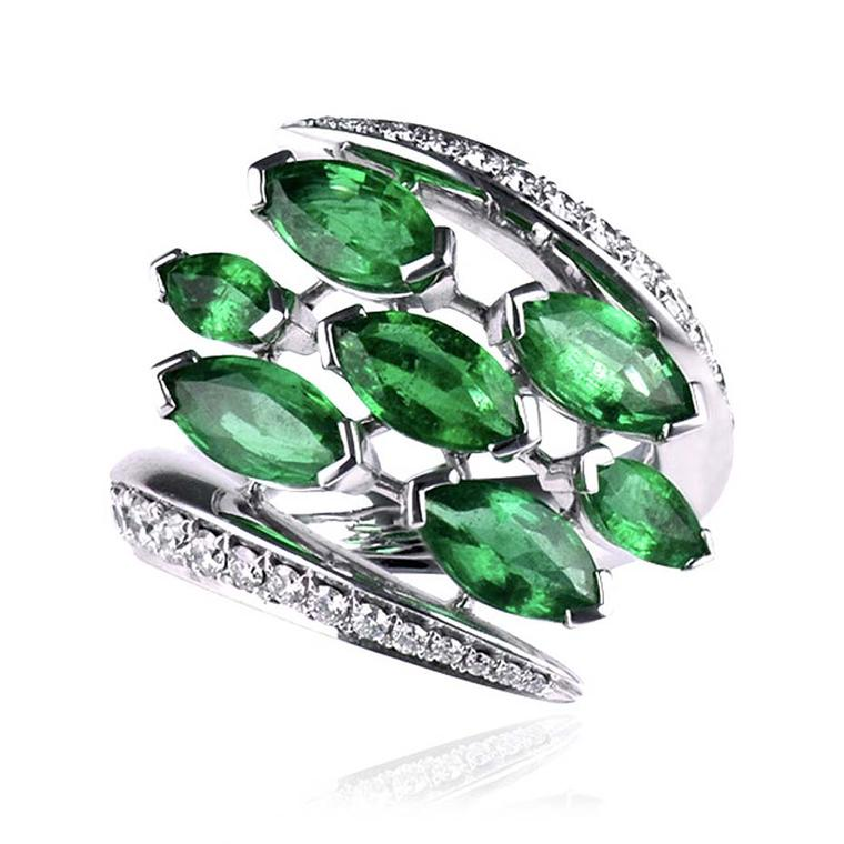 Shaun Leane Aerial white diamond and emerald ring in white gold set with Gemfields emeralds and pavé diamonds. £14,750.