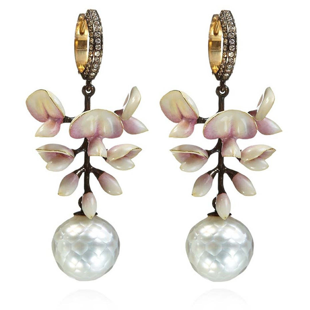 Ilgiz F for Annoushka Wisteria faceted pearl and enamel earrings depict a wisteria flower with yellow gold petals decorated with intricate pale pink enamelling. £23,400.