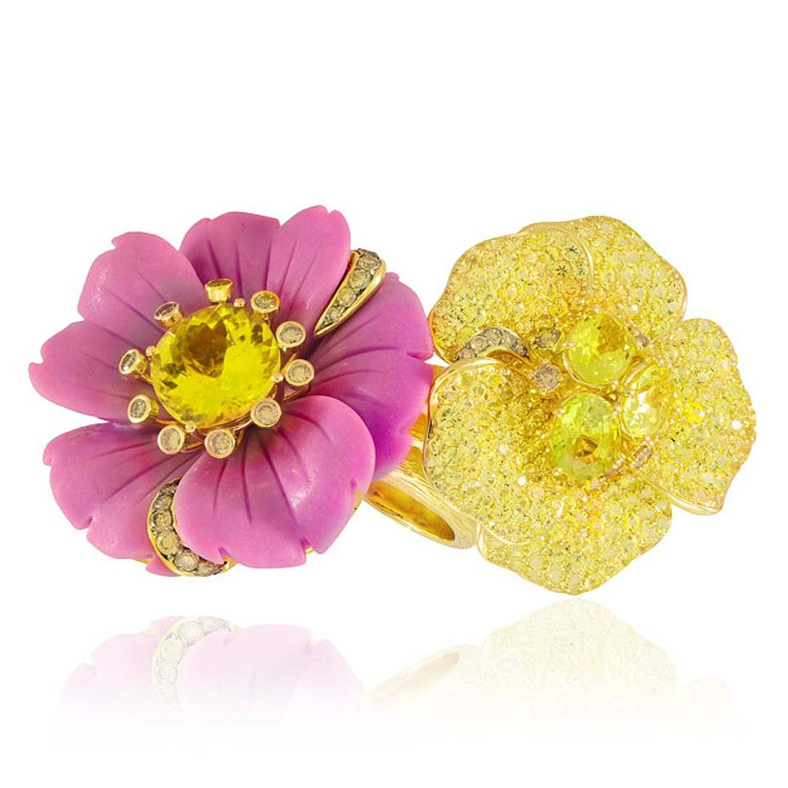 Lydia Courteille's Sweet and Sour double flower cocktail ring features two flowers, one featuring a rare Chilean phosphosiderite, the other in yellow gold and pavé set with topaz and sapphires. €17,500.