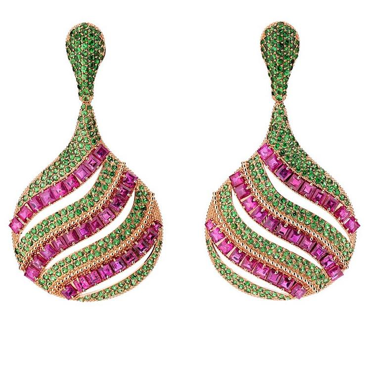 Carla Amorim ruby and tsavorite earrings