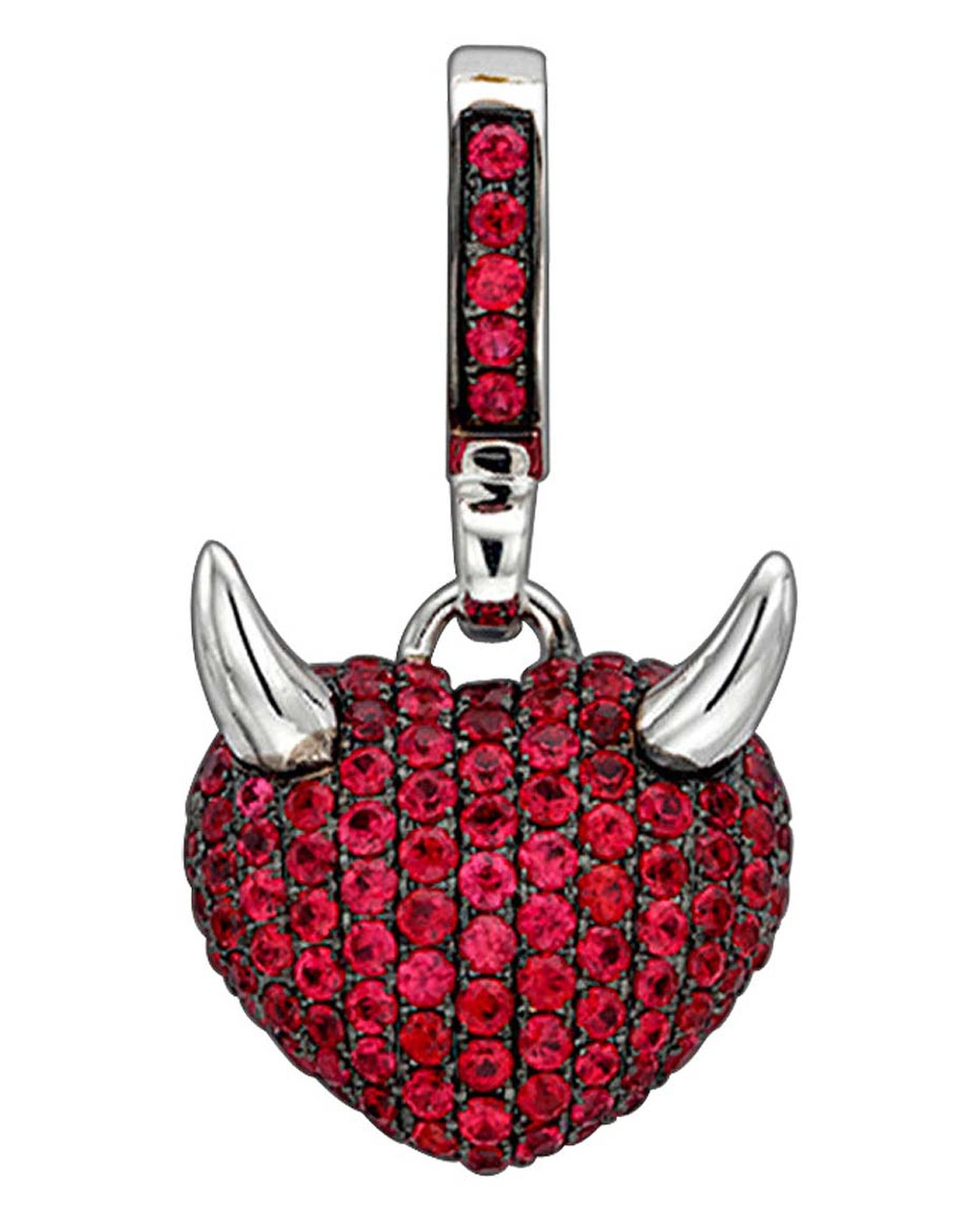 The Theo Fennell Art Devil white gold pendant charm is set with 1.75ct pavé rubies. £2,650.