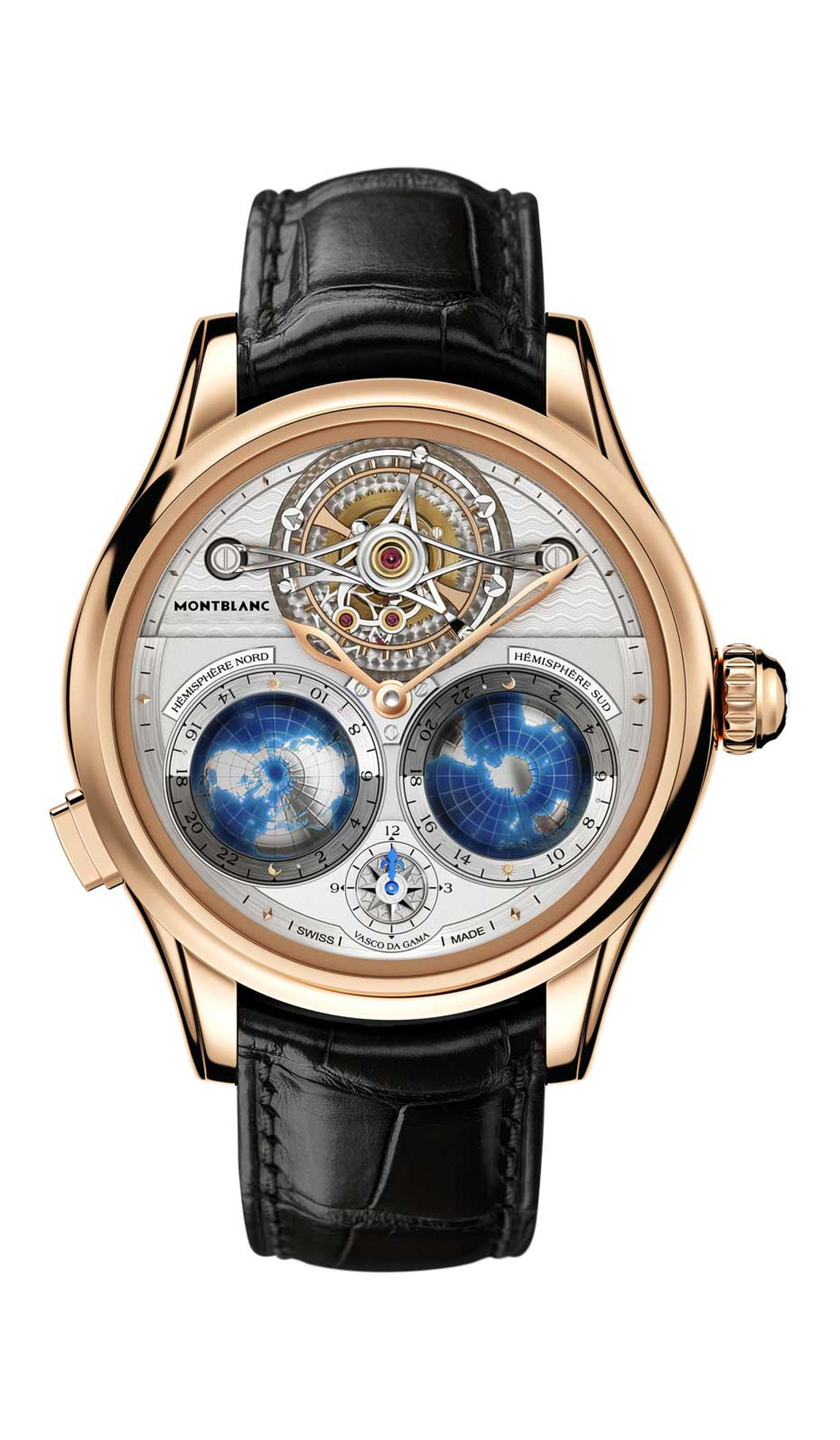 Monblanc Tourbillon Cylindrique Geosphères Vasco da Gama celebrates the voyage of Portuguese explorer Vasco da Gama who discovered a way to India by sea. And in doing so, he built a bridge across the Northern and Southern hemispheres.