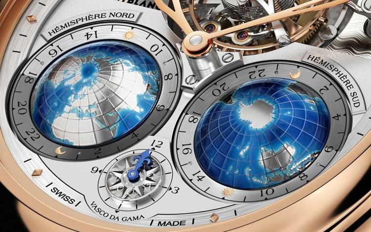 Monblanc Tourbillon Cylindrique Geosphères Vasco da Gama features two hand-painted globes with land masses in silver, representing the 24 time zones in the Northern and Southern hemispheres respectively. The Rose of the Winds compass gives the home time,
