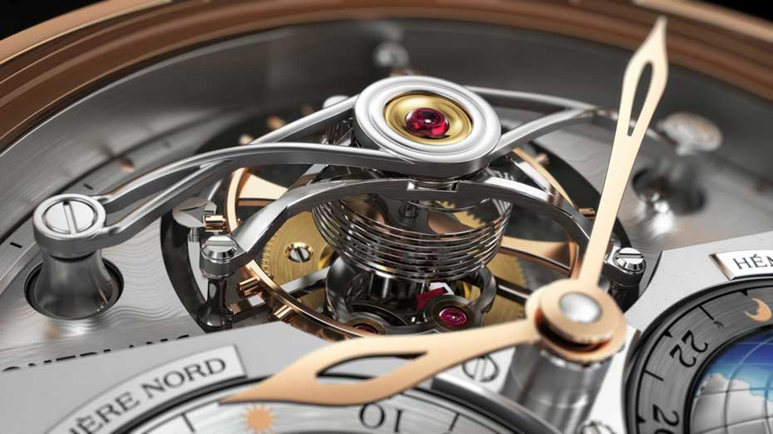 Montblanc Tourbillon Cylindrique Geosphères Vasco da Gama showcases its tourbillon mounted on a cylindrical hairspring, similar to the ones originally used on high-precision marine chronometers.