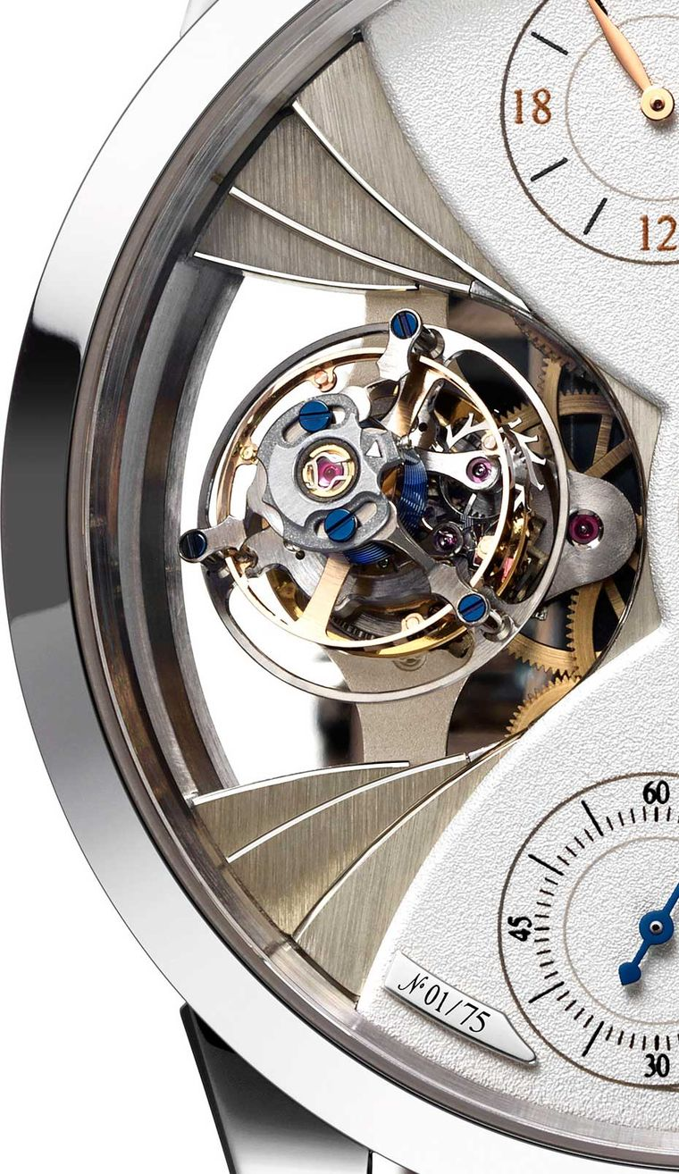 Jaeger-LeCoultre Duomètre Sphérotourbillon Moon creates a highly visible stage for its tourbillon with three overlapping tiers, like seats in an amphitheatre.