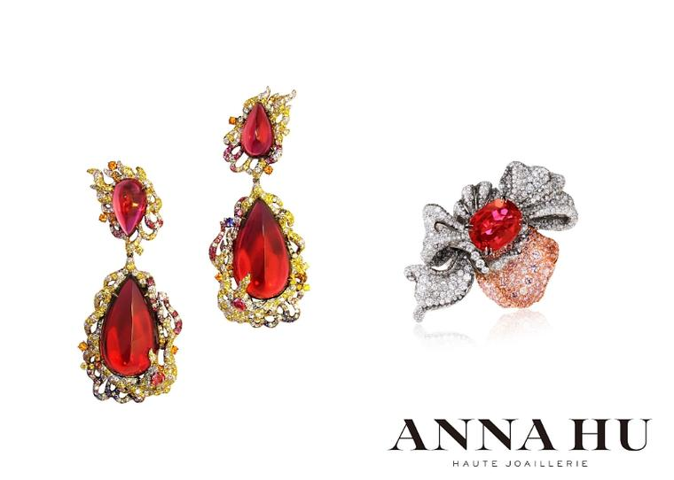 Anna Hu's one-of-a-kind Fire Phoenix earrings, featuring two pear-shaped cabochon Rubellites weighing 101 carats and a further two weighing 22.88 carats, set in a blaze of white and yellow diamonds, blue, pink and purple sapphires, paraiba tourmalines and