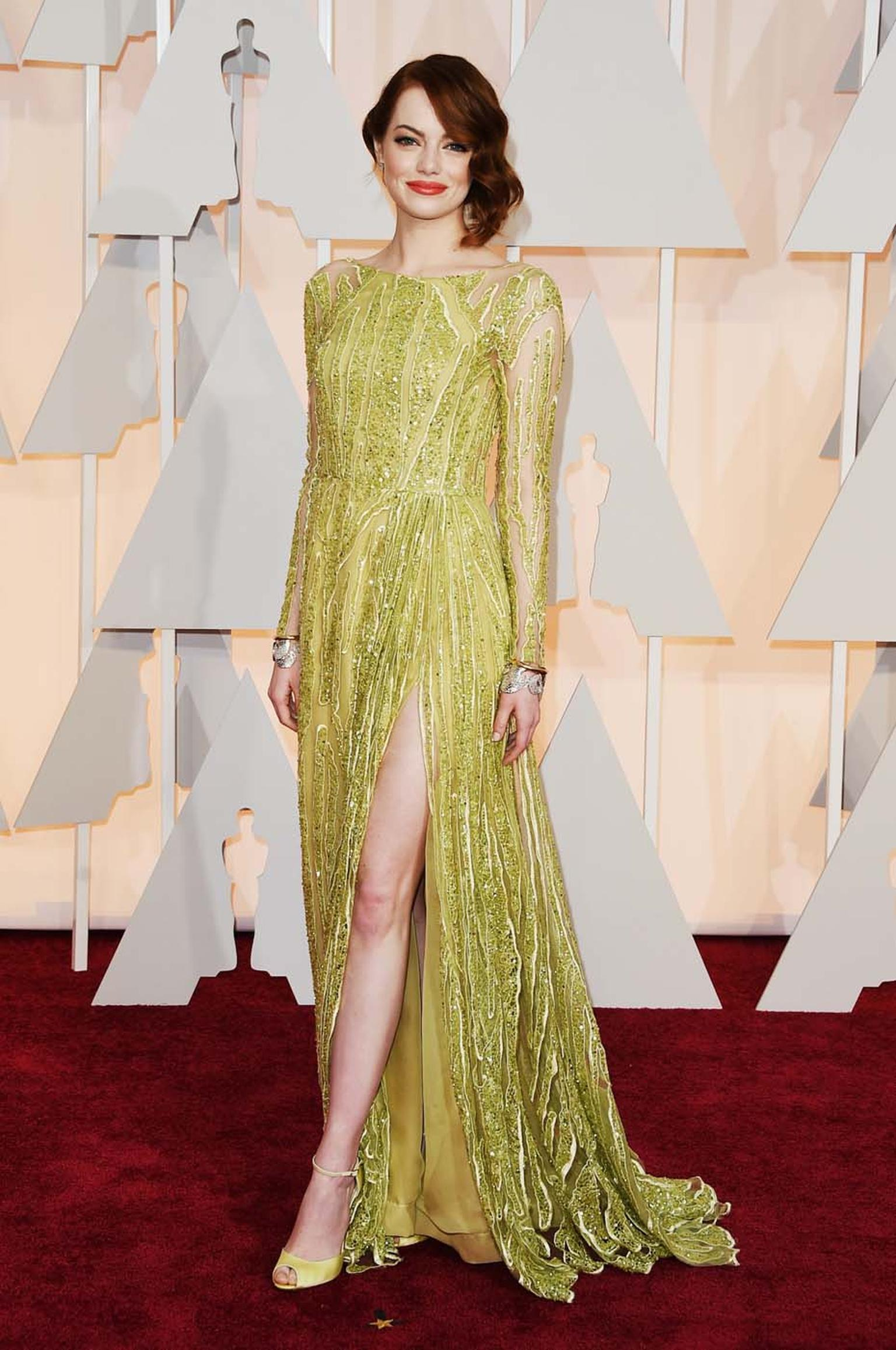 Best Actress Oscar nominee, Emma Stone, brought cool to the carpet with her red carpet jewelry. She matched her yellow-tone Ellie Saab gown with a pair of 1940s-inspired sculptural cuffs from Tiffany's Blue Book Collection.