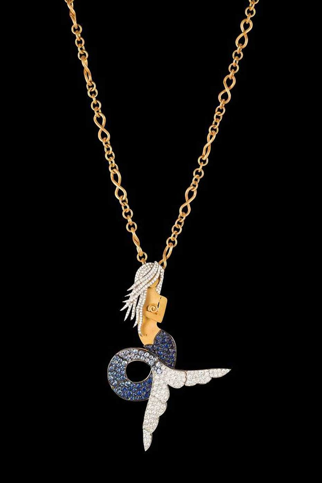"Liv Ballard's La Sirena ""The Siren"" necklace on a yellow and white gold chain, featuring a diamond and sapphire mermaid."
