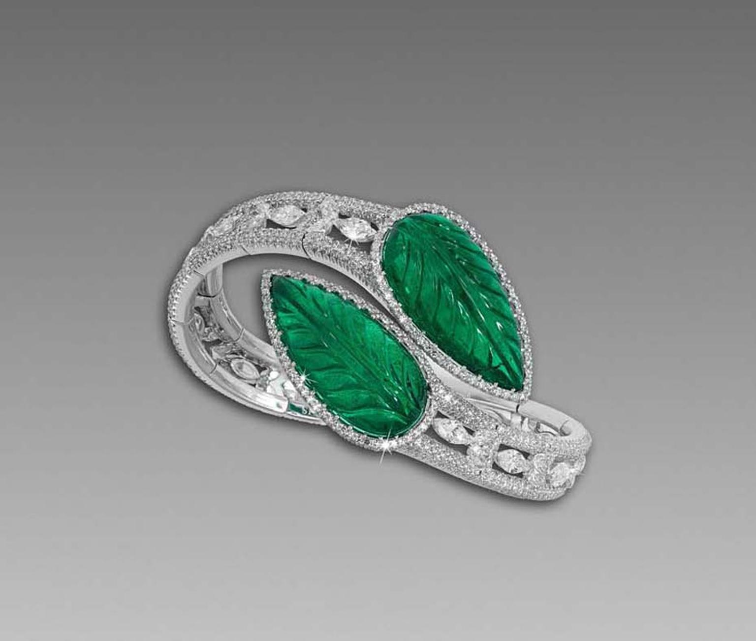 David Morris' use of African emeralds is showcased beautifully in this flexible carved Zambian emerald bangle with marquise, pear-shape and micro-set diamonds.