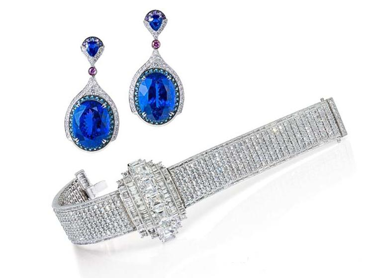 The Anna Hu Wallis Simpson diamond bracelet, inspired by the Duchess of Windsor, and Art Deco-inspired sapphire earrings worn by Naomi Watts to the 87th Academy Awards.