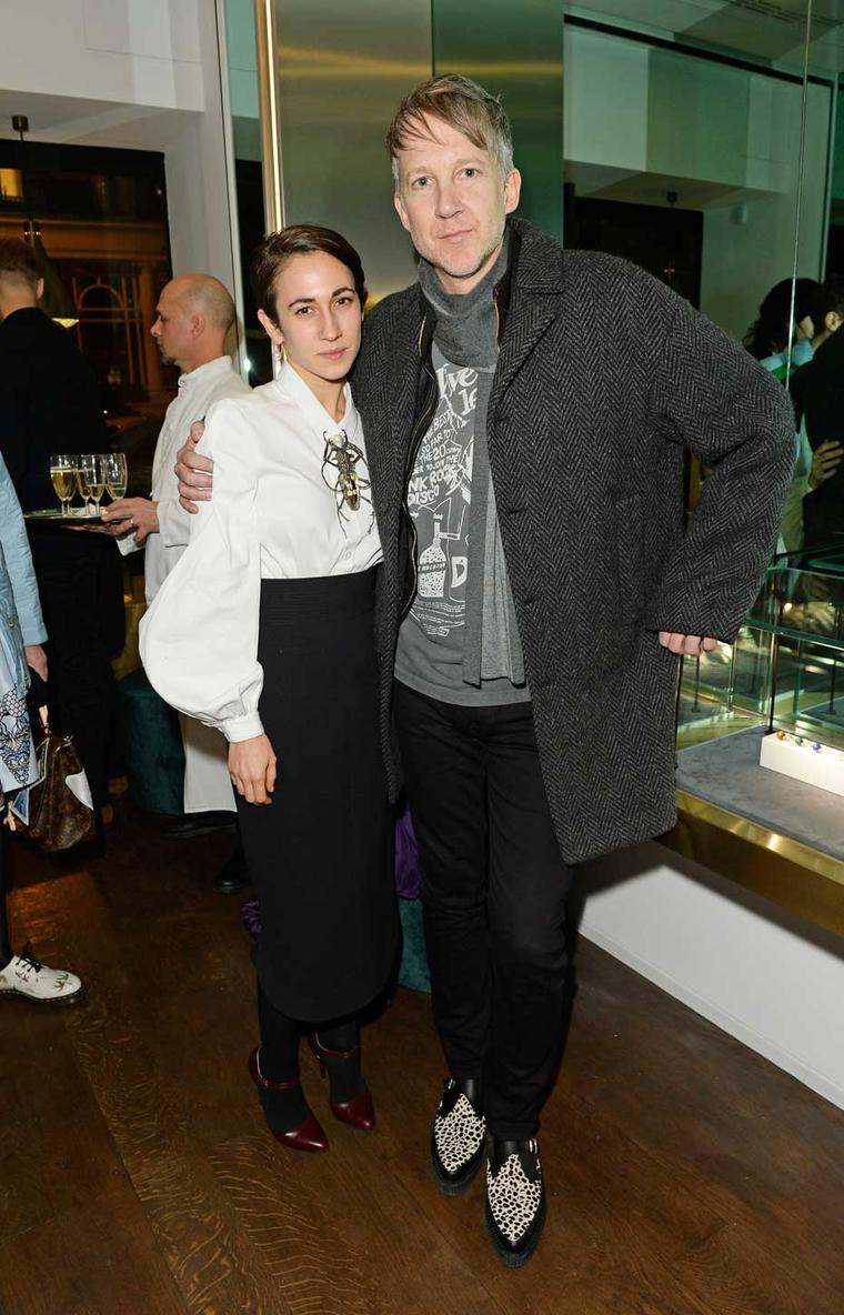 Jewellery designer Delfina Delettrez pictured with Jefferson Hack at her boutique opening in London.