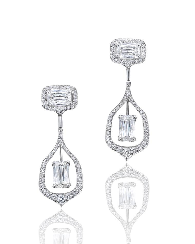 Boodles Wisteria Ashoka-cut diamond earrings.
