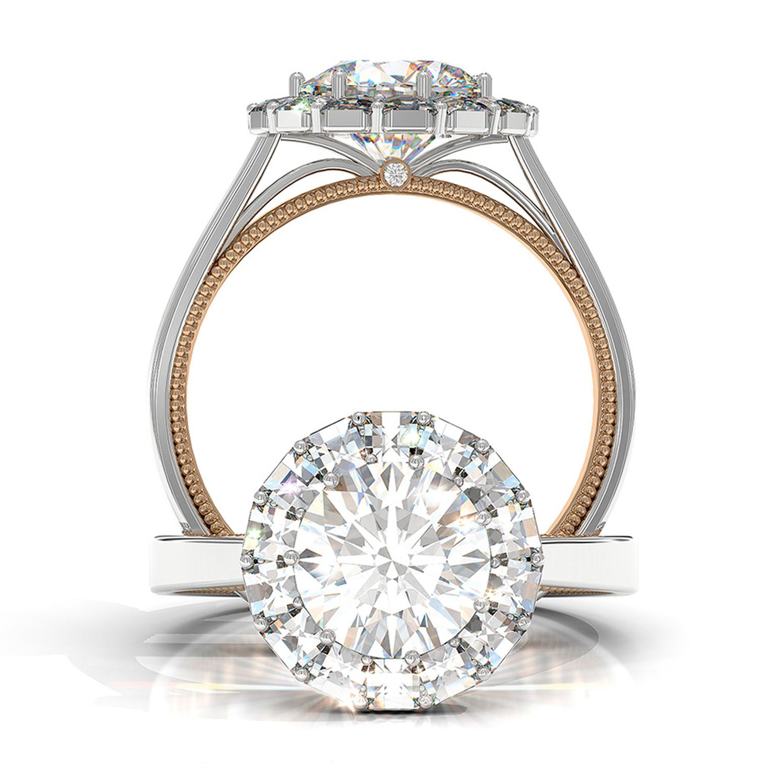 Bez Ambar Ring of Fire engagement ring in white and rose gold, set with a 1.50ct round brilliant cut diamond encircled by a halo of his signature Blaze-cut diamonds, which add fire and give the appearance of a bigger central stone.