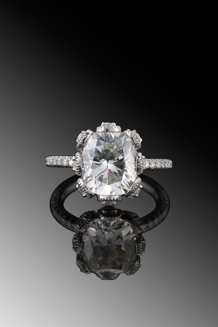 Fred Leighton cushion-cut diamond engagement ring in platinum.